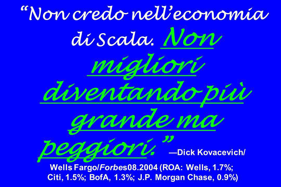 Non credo nelleconomia di Scala. Non migliori diventando più grande ma peggiori. Dick Kovacevich/ Wells Fargo/Forbes08.2004 (ROA: Wells, 1.7%; Citi, 1