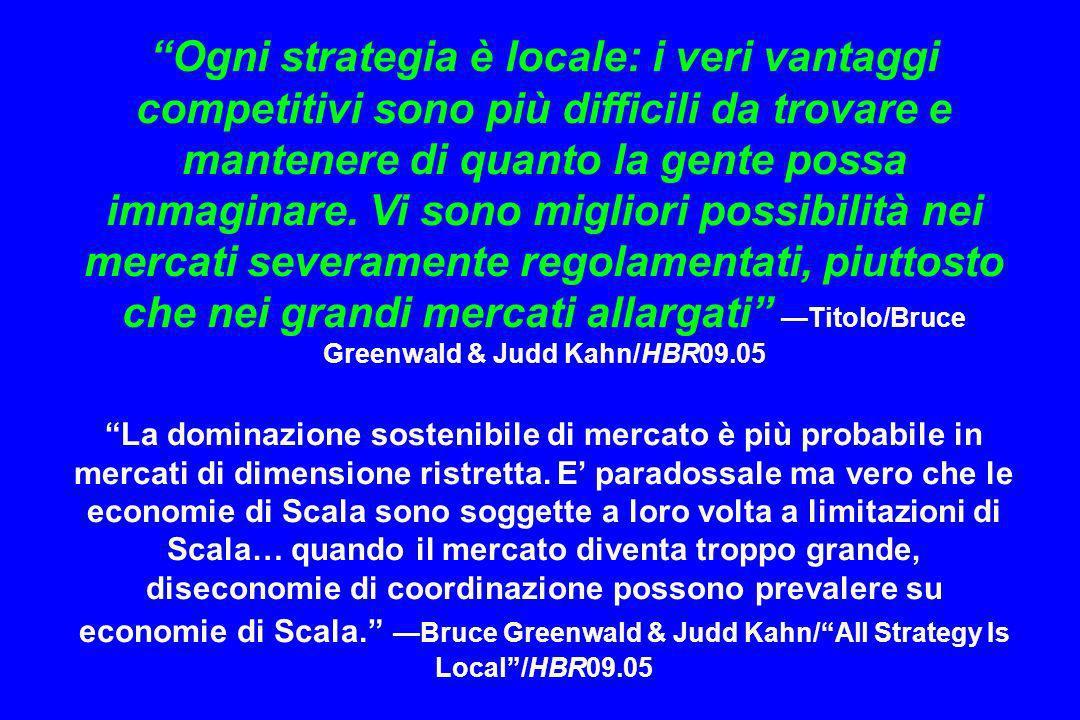 Ogni strategia è locale: i veri vantaggi competitivi sono più difficili da trovare e mantenere di quanto la gente possa immaginare. Vi sono migliori p