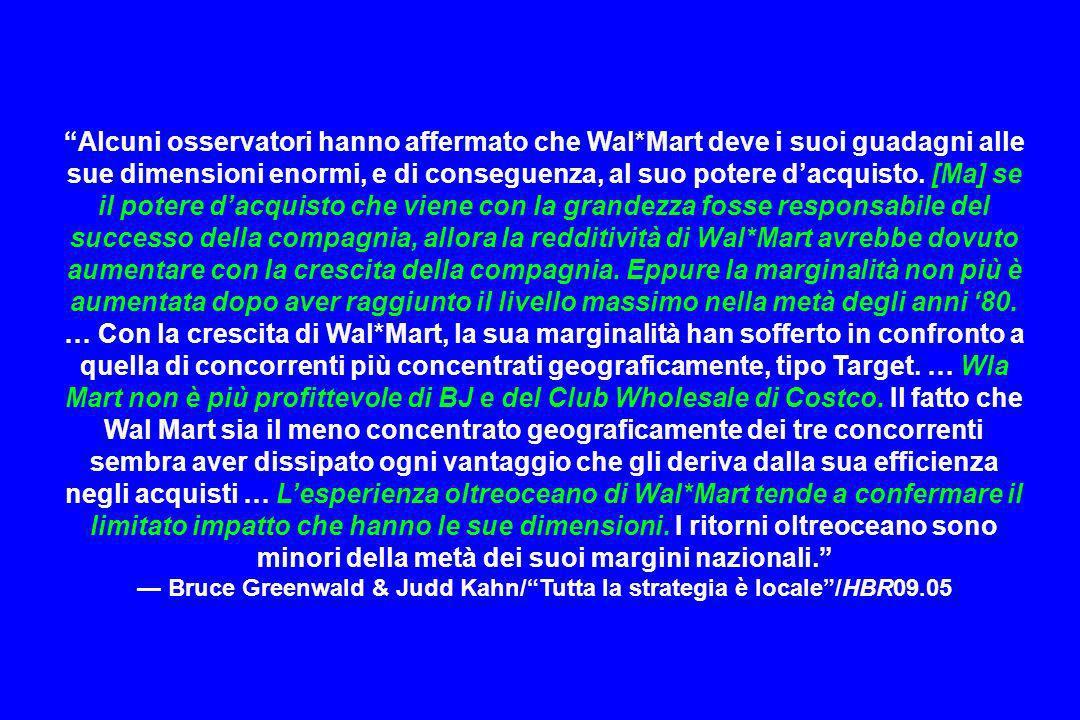 Alcuni osservatori hanno affermato che Wal*Mart deve i suoi guadagni alle sue dimensioni enormi, e di conseguenza, al suo potere dacquisto. [Ma] se il