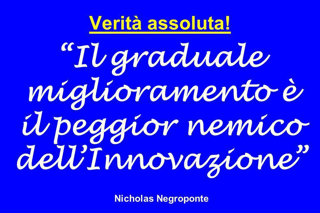 Verità assoluta! Il graduale miglioramento è il peggior nemico dellInnovazione Nicholas Negroponte