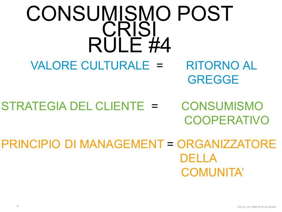 28 CONSUMISMO POST CRISI RULE #4 VALORE CULTURALE = RITORNO AL GREGGE STRATEGIA DEL CLIENTE = CONSUMISMO COOPERATIVO PRINCIPIO DI MANAGEMENT = ORGANIZ
