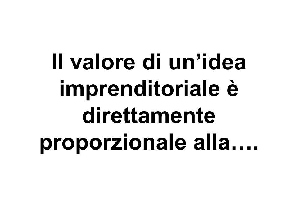 Il valore di unidea imprenditoriale è direttamente proporzionale alla….