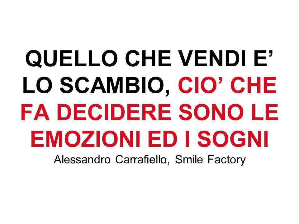 QUELLO CHE VENDI E LO SCAMBIO, CIO CHE FA DECIDERE SONO LE EMOZIONI ED I SOGNI Alessandro Carrafiello, Smile Factory