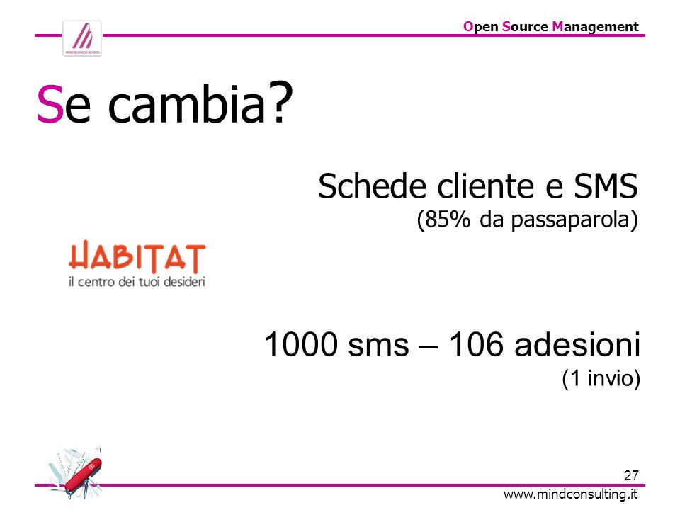 27 Open Source Management www.mindconsulting.it Schede cliente e SMS (85% da passaparola) Se cambia ? 1000 sms – 106 adesioni (1 invio)