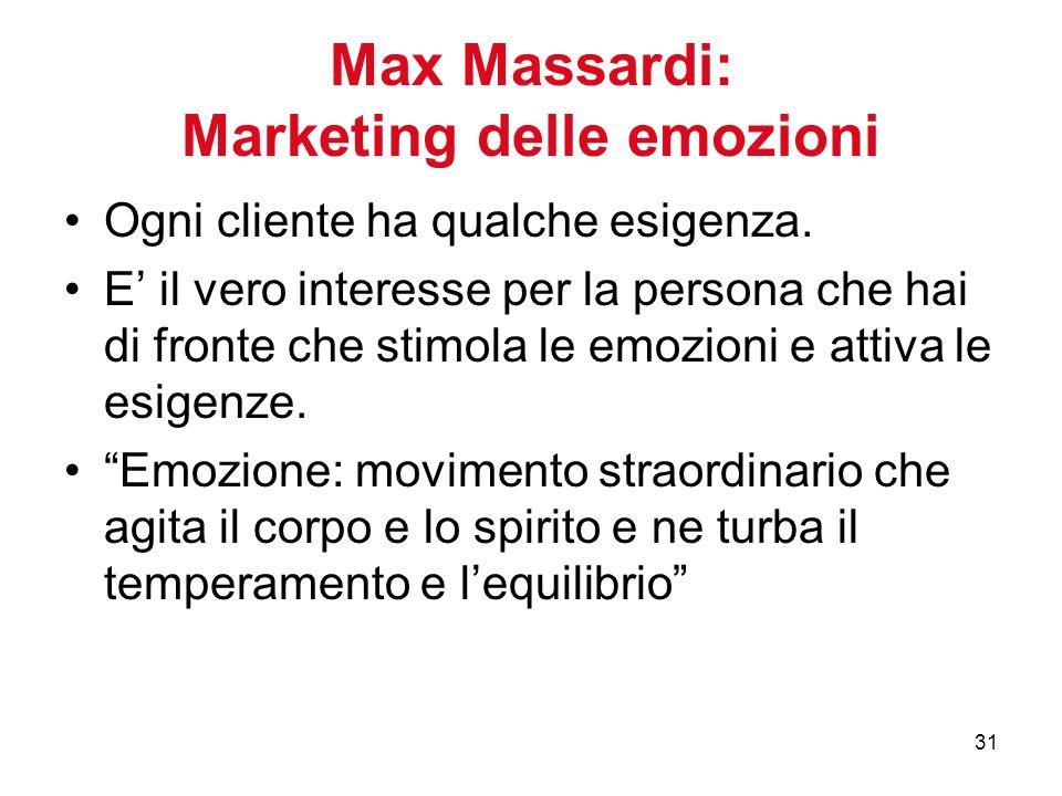 31 Max Massardi: Marketing delle emozioni Ogni cliente ha qualche esigenza.