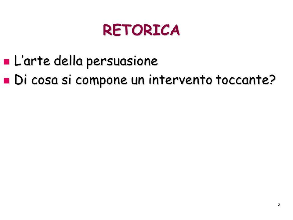 3 RETORICA Larte della persuasione Larte della persuasione Di cosa si compone un intervento toccante? Di cosa si compone un intervento toccante?