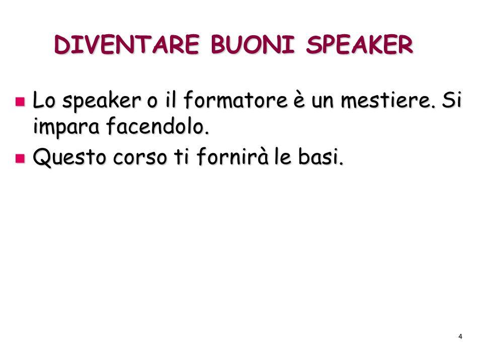 4 DIVENTARE BUONI SPEAKER Lo speaker o il formatore è un mestiere. Si impara facendolo. Lo speaker o il formatore è un mestiere. Si impara facendolo.