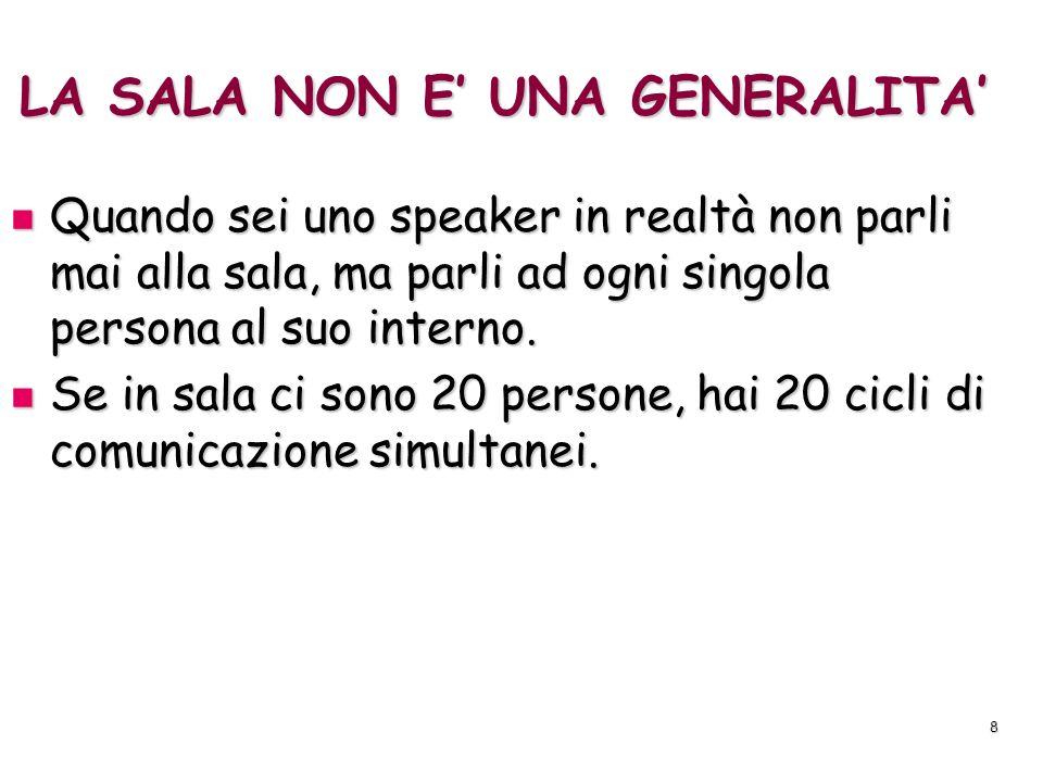 8 LA SALA NON E UNA GENERALITA Quando sei uno speaker in realtà non parli mai alla sala, ma parli ad ogni singola persona al suo interno. Quando sei u