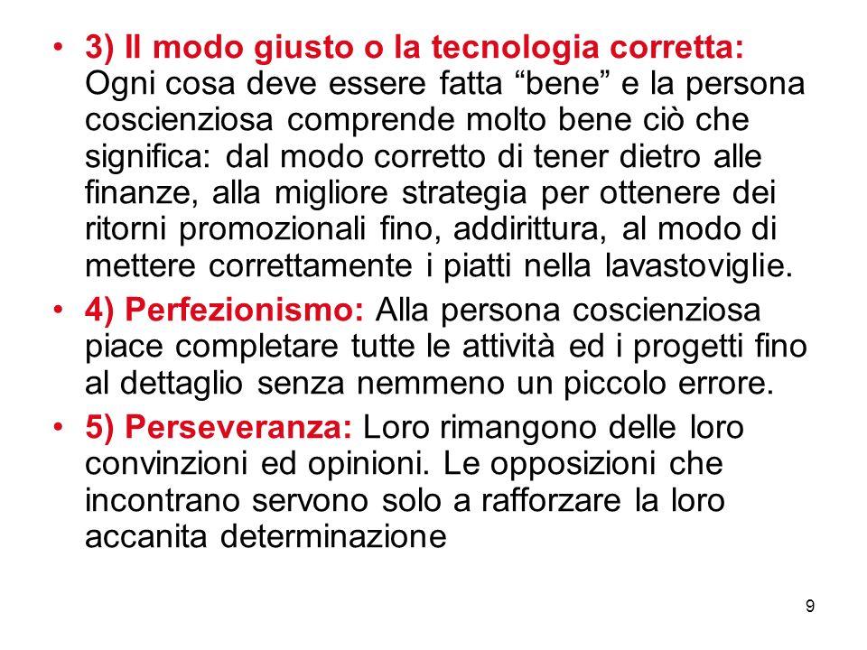 9 3) Il modo giusto o la tecnologia corretta: Ogni cosa deve essere fatta bene e la persona coscienziosa comprende molto bene ciò che significa: dal m