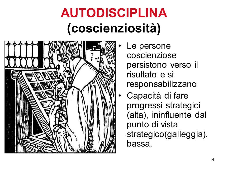 4 AUTODISCIPLINA (coscienziosità) Le persone coscienziose persistono verso il risultato e si responsabilizzano Capacità di fare progressi strategici (