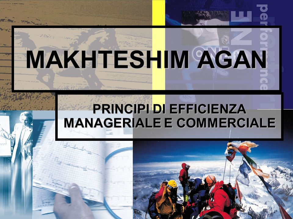 1 MAKHTESHIM AGAN PRINCIPI DI EFFICIENZA MANAGERIALE E COMMERCIALE