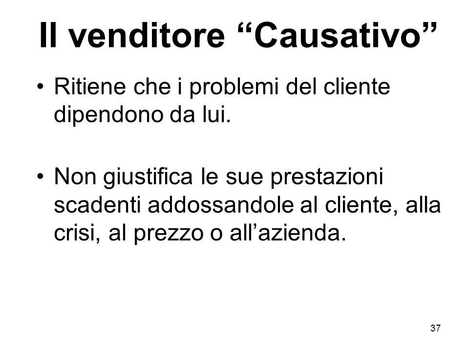 37 Il venditore Causativo Ritiene che i problemi del cliente dipendono da lui.