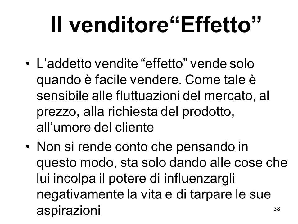 38 Il venditoreEffetto Laddetto vendite effetto vende solo quando è facile vendere.