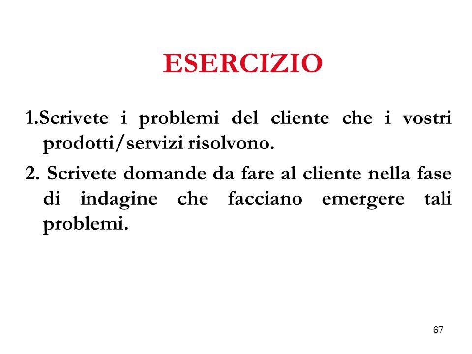 67 ESERCIZIO 1.Scrivete i problemi del cliente che i vostri prodotti/servizi risolvono.