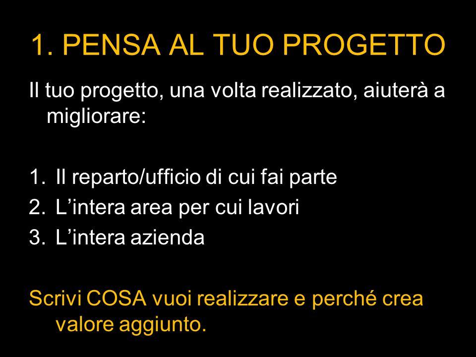 1. PENSA AL TUO PROGETTO Il tuo progetto, una volta realizzato, aiuterà a migliorare: 1.Il reparto/ufficio di cui fai parte 2.Lintera area per cui lav