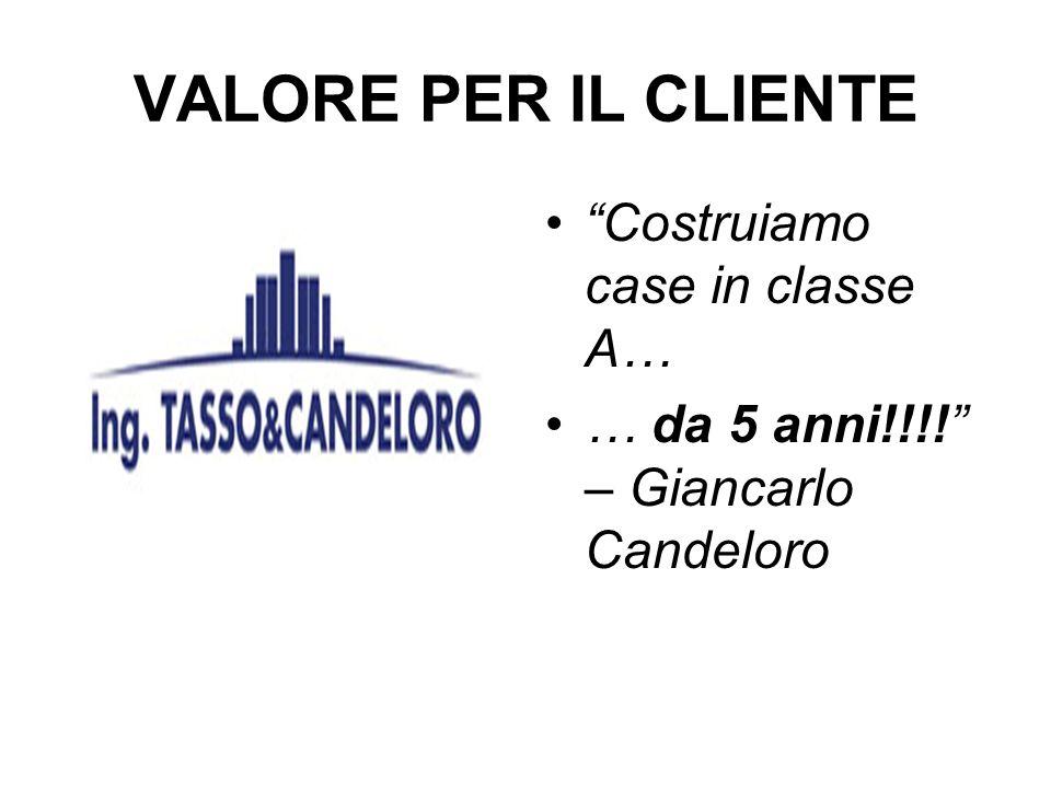 VALORE PER IL CLIENTE Costruiamo case in classe A… … da 5 anni!!!! – Giancarlo Candeloro