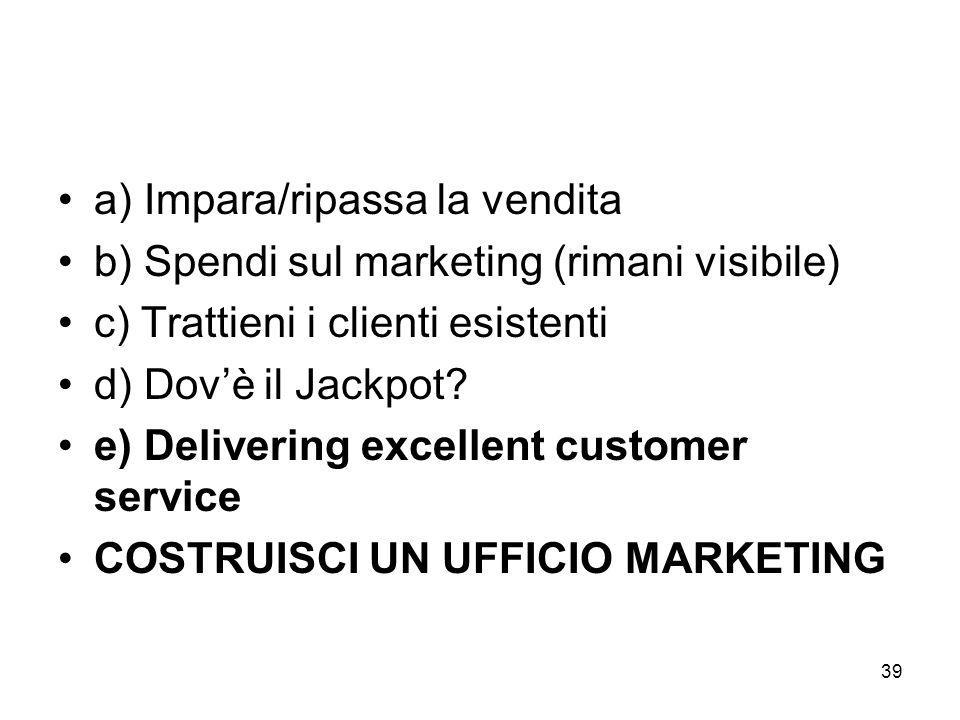 39 a) Impara/ripassa la vendita b) Spendi sul marketing (rimani visibile) c) Trattieni i clienti esistenti d) Dovè il Jackpot.