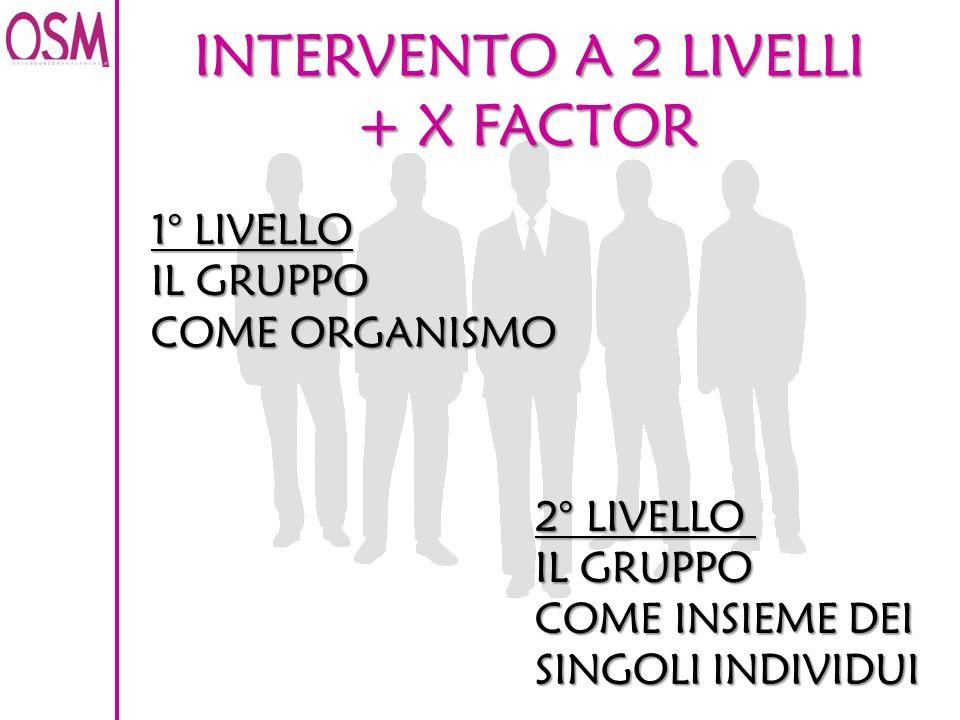 INTERVENTO A 2 LIVELLI + X FACTOR 1° LIVELLO IL GRUPPO COME ORGANISMO 2° LIVELLO IL GRUPPO COME INSIEME DEI SINGOLI INDIVIDUI