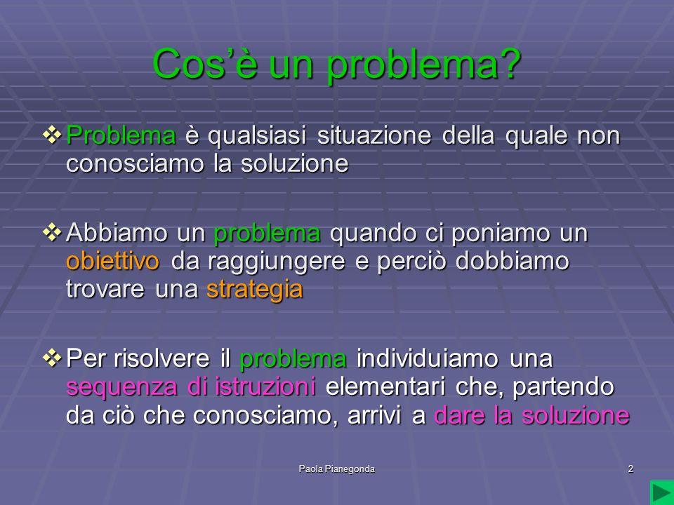 Paola Pianegonda2 Cosè un problema? Problema è qualsiasi situazione della quale non conosciamo la soluzione Problema è qualsiasi situazione della qual