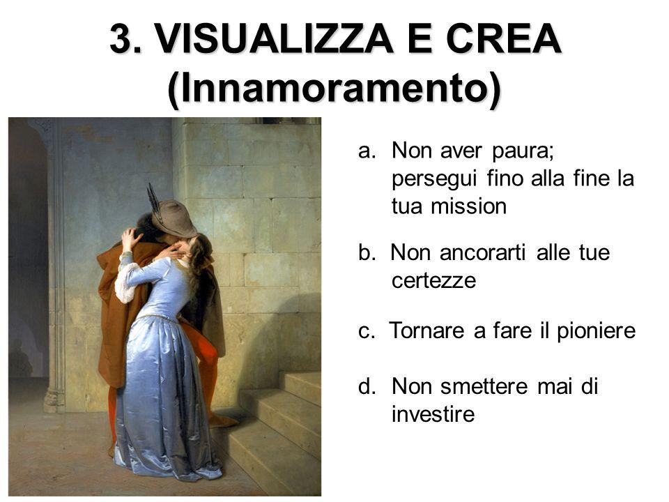 3.VISUALIZZA E CREA (Innamoramento) a.Non aver paura; persegui fino alla fine la tua mission c.