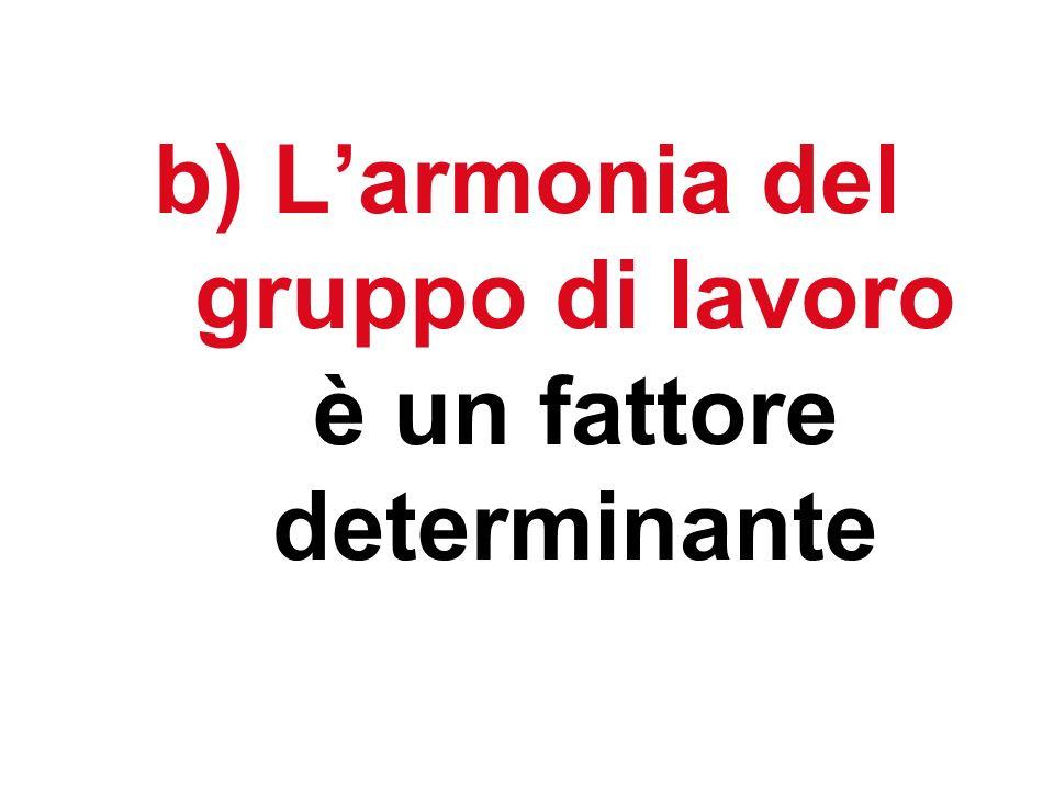 b) Larmonia del gruppo di lavoro è un fattore determinante