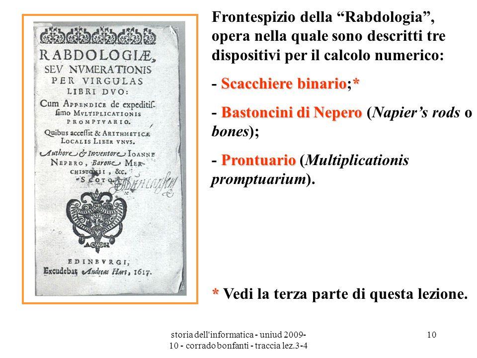 storia dell'informatica - uniud 2009- 10 - corrado bonfanti - traccia lez.3-4 10 Frontespizio della Rabdologia, opera nella quale sono descritti tre d