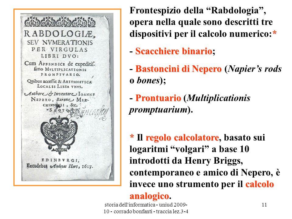 storia dell'informatica - uniud 2009- 10 - corrado bonfanti - traccia lez.3-4 11 * Frontespizio della Rabdologia, opera nella quale sono descritti tre