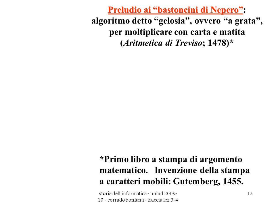 storia dell'informatica - uniud 2009- 10 - corrado bonfanti - traccia lez.3-4 12 Preludio ai bastoncini di Nepero Preludio ai bastoncini di Nepero: al