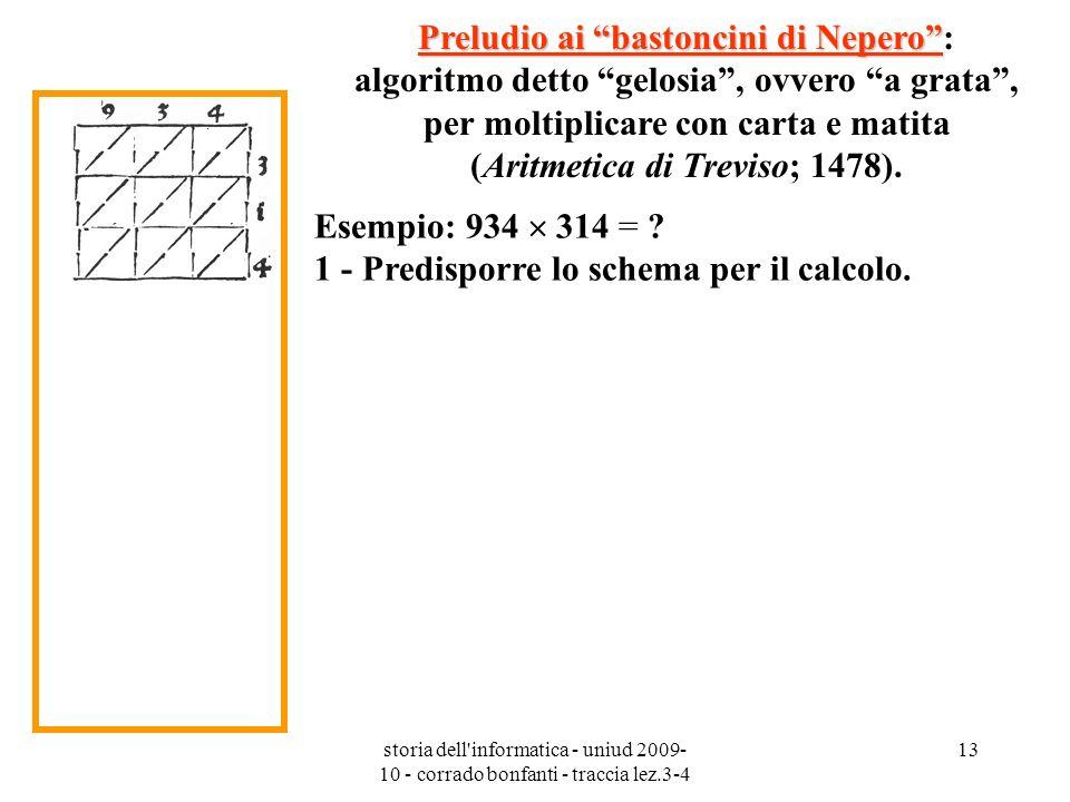 storia dell'informatica - uniud 2009- 10 - corrado bonfanti - traccia lez.3-4 13 Preludio ai bastoncini di Nepero Preludio ai bastoncini di Nepero: al