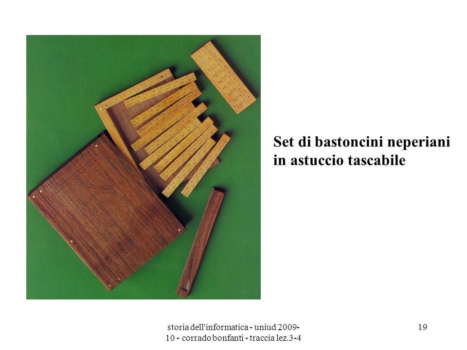 storia dell'informatica - uniud 2009- 10 - corrado bonfanti - traccia lez.3-4 19 Set di bastoncini neperiani in astuccio tascabile