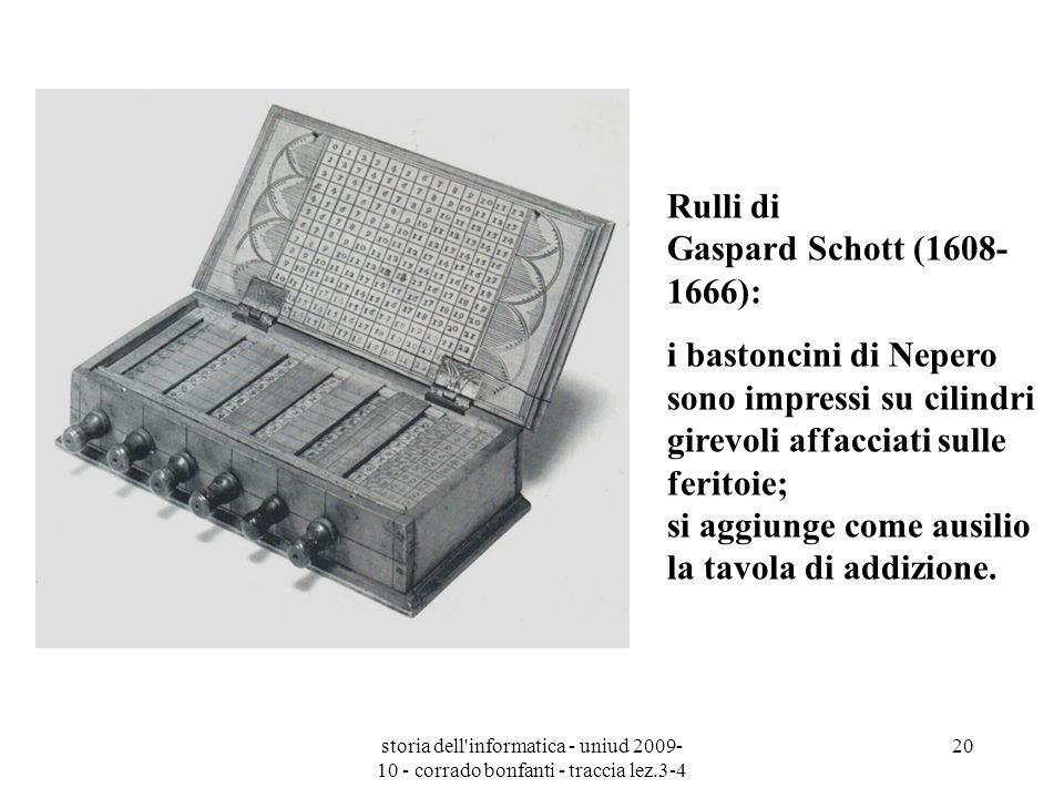 storia dell'informatica - uniud 2009- 10 - corrado bonfanti - traccia lez.3-4 20 Rulli di Gaspard Schott (1608- 1666): i bastoncini di Nepero sono imp