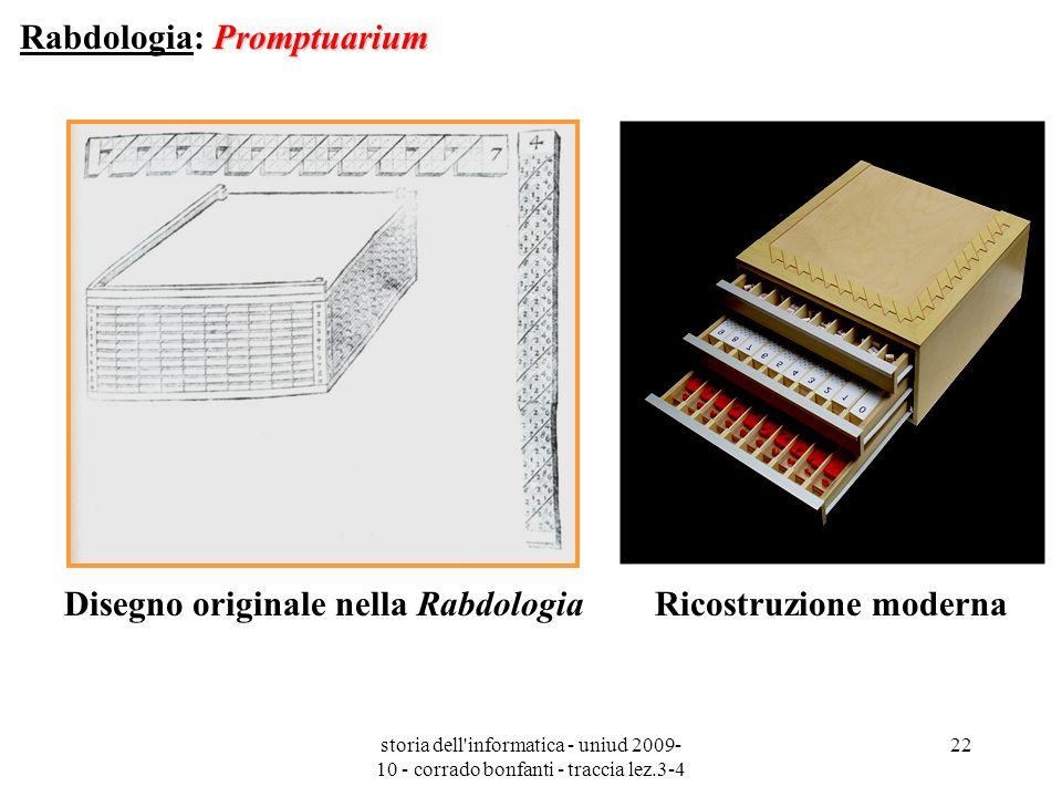 storia dell'informatica - uniud 2009- 10 - corrado bonfanti - traccia lez.3-4 22 Promptuarium Rabdologia: Promptuarium Disegno originale nella Rabdolo
