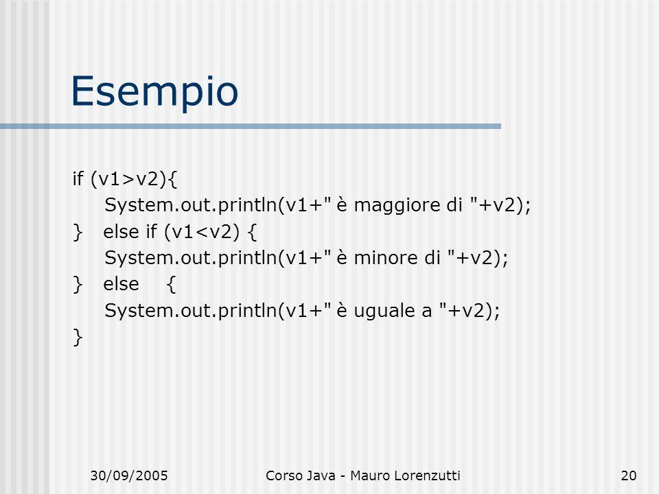 30/09/2005Corso Java - Mauro Lorenzutti20 Esempio if (v1>v2){ System.out.println(v1+ è maggiore di +v2); } else if (v1<v2) { System.out.println(v1+ è minore di +v2); } else { System.out.println(v1+ è uguale a +v2); }
