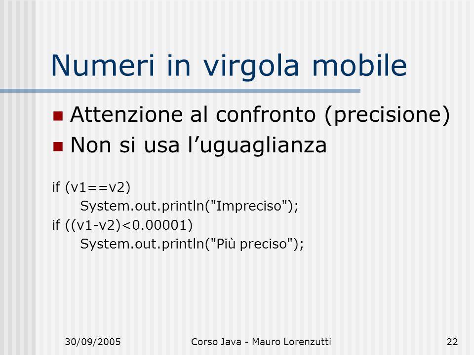 30/09/2005Corso Java - Mauro Lorenzutti22 Numeri in virgola mobile Attenzione al confronto (precisione) Non si usa luguaglianza if (v1==v2) System.out.println( Impreciso ); if ((v1-v2)<0.00001) System.out.println( Più preciso );