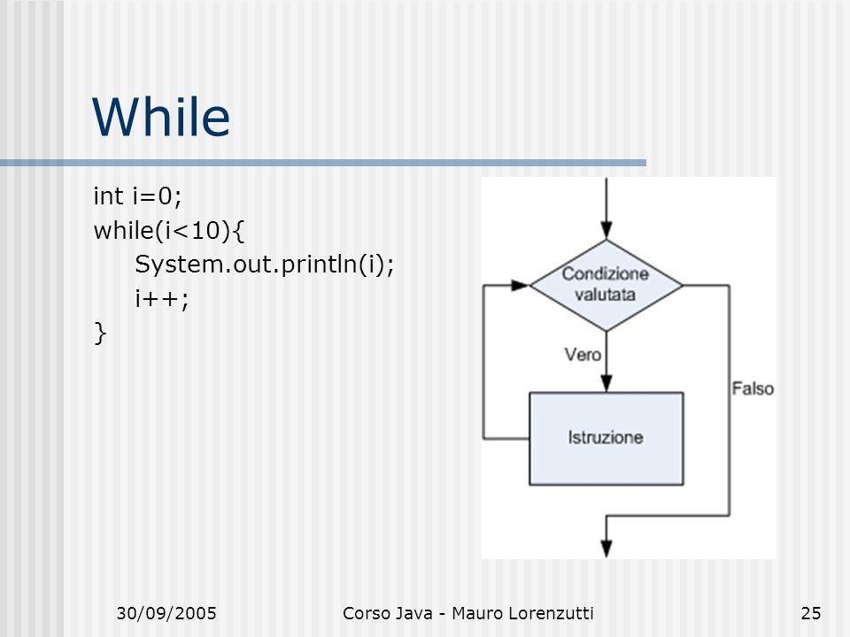 30/09/2005Corso Java - Mauro Lorenzutti25 While int i=0; while(i<10){ System.out.println(i); i++; }