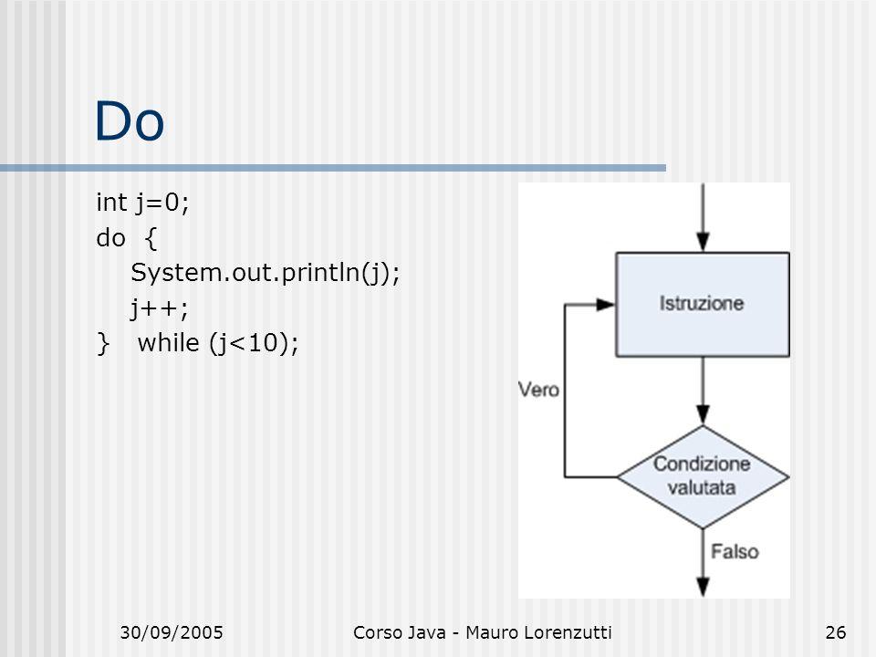 30/09/2005Corso Java - Mauro Lorenzutti26 Do int j=0; do { System.out.println(j); j++; } while (j<10);