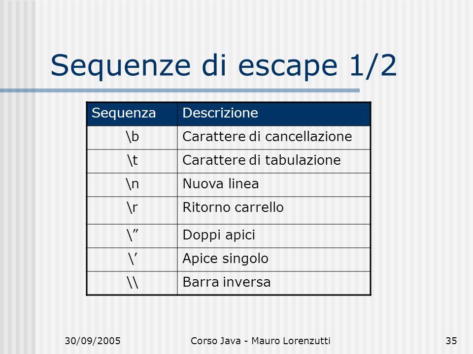 30/09/2005Corso Java - Mauro Lorenzutti35 Sequenze di escape 1/2 SequenzaDescrizione \bCarattere di cancellazione \tCarattere di tabulazione \nNuova linea \rRitorno carrello \Doppi apici \Apice singolo \\Barra inversa