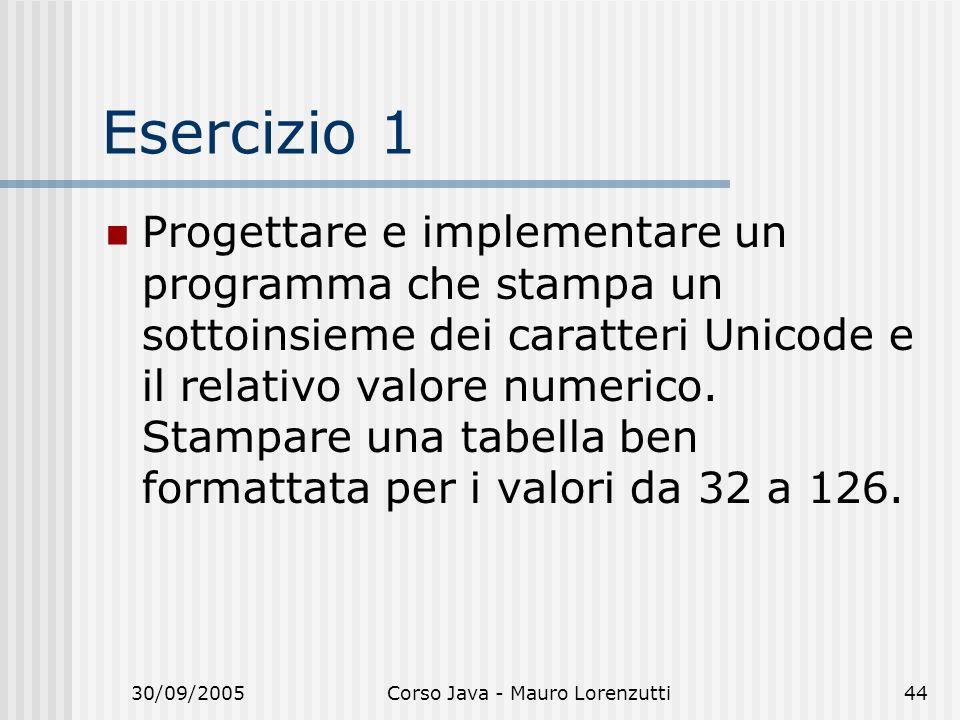 30/09/2005Corso Java - Mauro Lorenzutti44 Esercizio 1 Progettare e implementare un programma che stampa un sottoinsieme dei caratteri Unicode e il relativo valore numerico.