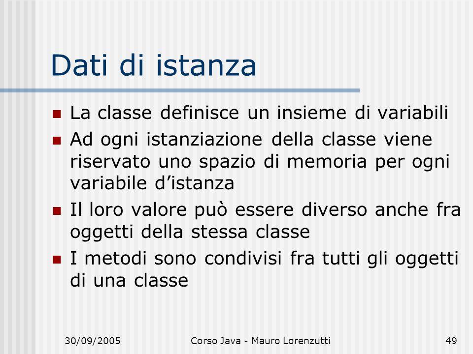 30/09/2005Corso Java - Mauro Lorenzutti49 Dati di istanza La classe definisce un insieme di variabili Ad ogni istanziazione della classe viene riservato uno spazio di memoria per ogni variabile distanza Il loro valore può essere diverso anche fra oggetti della stessa classe I metodi sono condivisi fra tutti gli oggetti di una classe