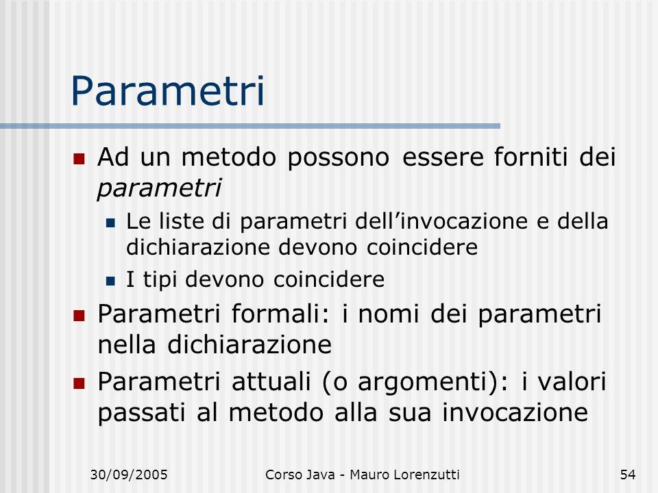 30/09/2005Corso Java - Mauro Lorenzutti54 Parametri Ad un metodo possono essere forniti dei parametri Le liste di parametri dellinvocazione e della dichiarazione devono coincidere I tipi devono coincidere Parametri formali: i nomi dei parametri nella dichiarazione Parametri attuali (o argomenti): i valori passati al metodo alla sua invocazione