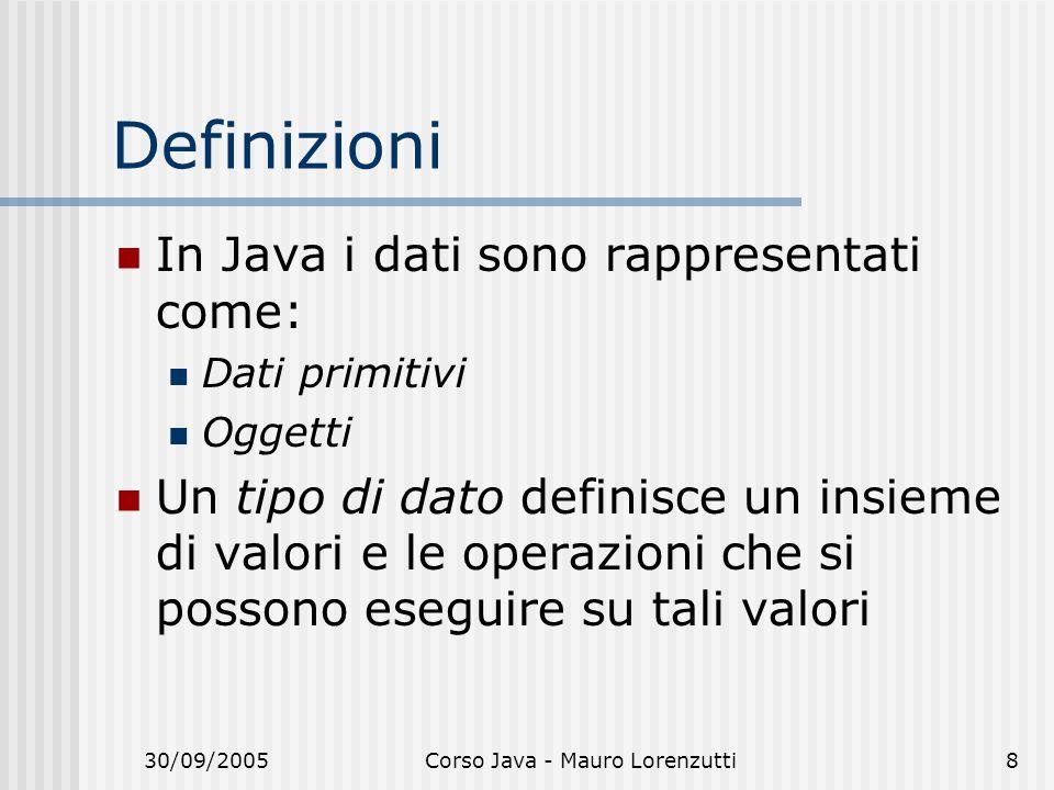 30/09/2005Corso Java - Mauro Lorenzutti8 Definizioni In Java i dati sono rappresentati come: Dati primitivi Oggetti Un tipo di dato definisce un insieme di valori e le operazioni che si possono eseguire su tali valori