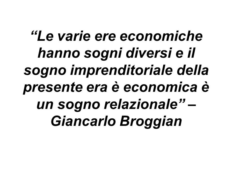 Le varie ere economiche hanno sogni diversi e il sogno imprenditoriale della presente era è economica è un sogno relazionale – Giancarlo Broggian