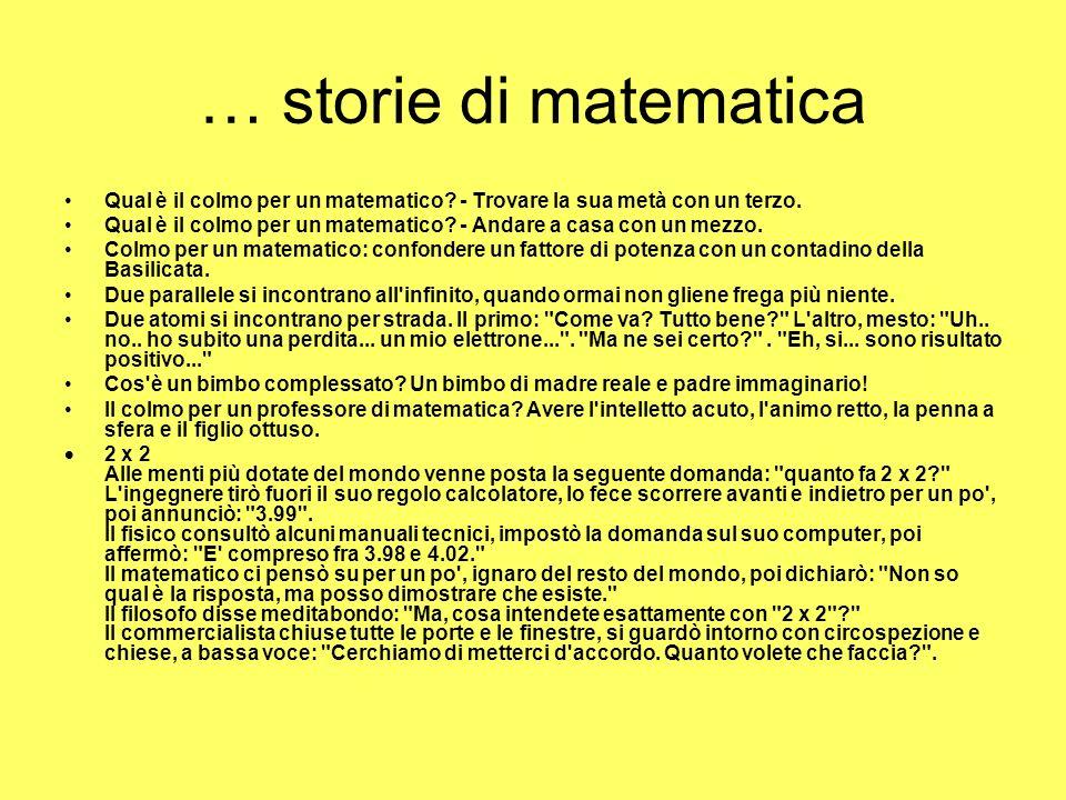 … storie di matematica Qual è il colmo per un matematico.