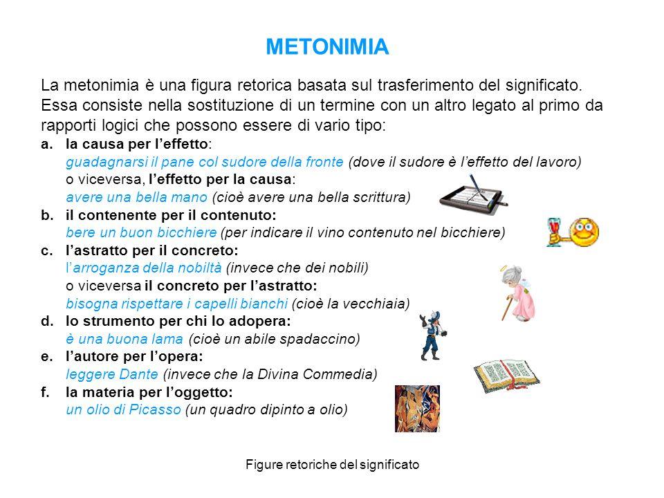 Figure retoriche del significato METONIMIA La metonimia è una figura retorica basata sul trasferimento del significato. Essa consiste nella sostituzio