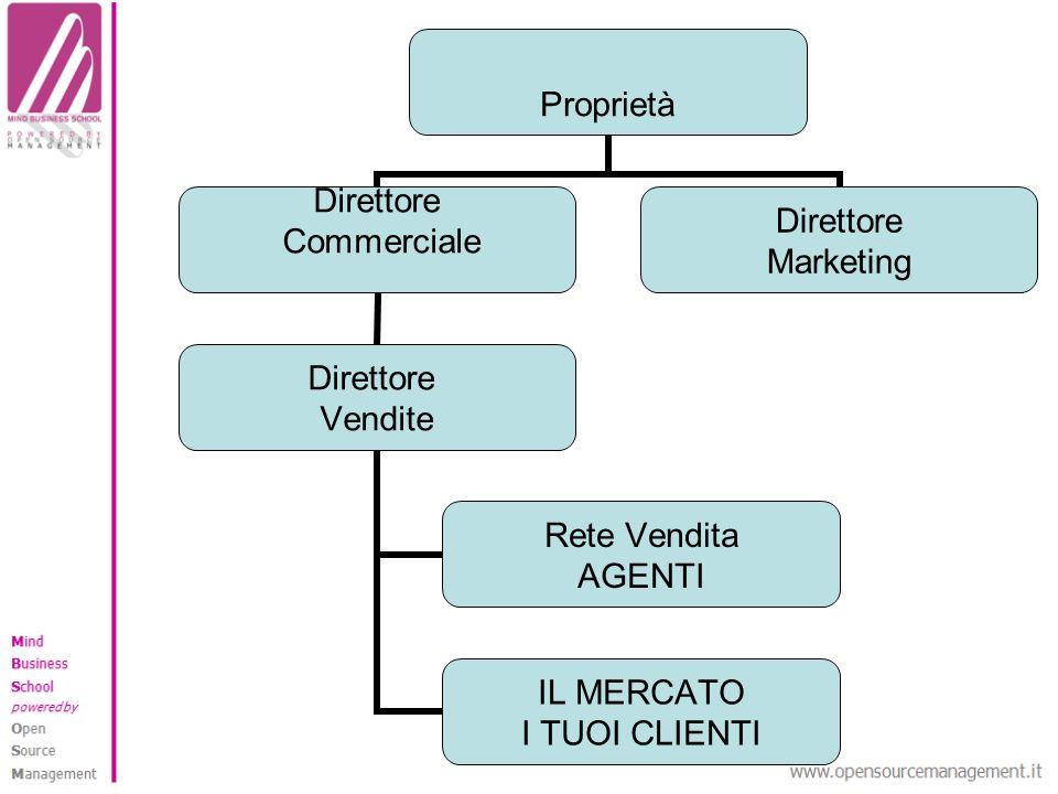 Proprietà Direttore Commerciale Direttore Vendite Rete Vendita AGENTI IL MERCATO I TUOI CLIENTI Direttore Marketing