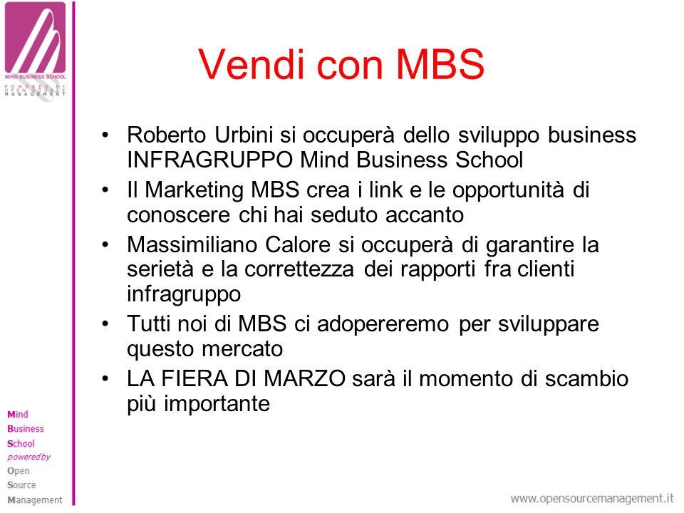 Vendi con MBS Roberto Urbini si occuperà dello sviluppo business INFRAGRUPPO Mind Business School Il Marketing MBS crea i link e le opportunità di con