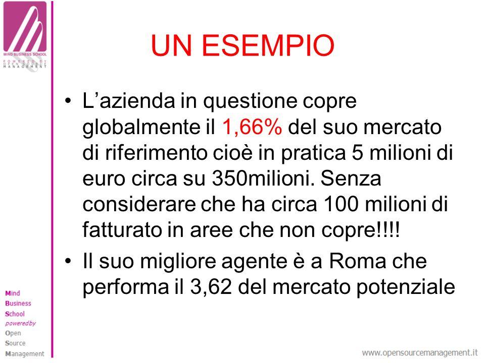 UN ESEMPIO Lazienda in questione copre globalmente il 1,66% del suo mercato di riferimento cioè in pratica 5 milioni di euro circa su 350milioni. Senz