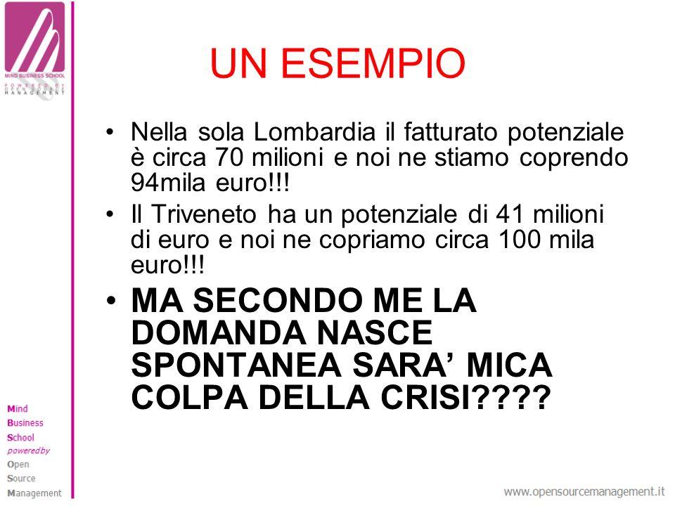 UN ESEMPIO Nella sola Lombardia il fatturato potenziale è circa 70 milioni e noi ne stiamo coprendo 94mila euro!!! Il Triveneto ha un potenziale di 41