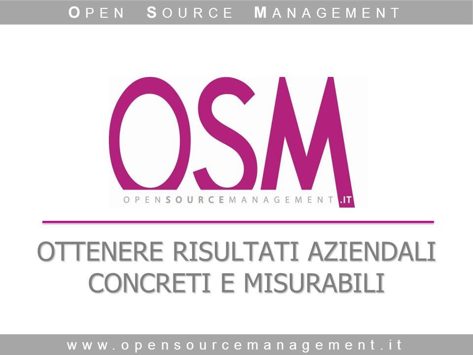 OTTENERE RISULTATI AZIENDALI CONCRETI E MISURABILI www.opensourcemanagement.it O PEN S OURCE M ANAGEMENT