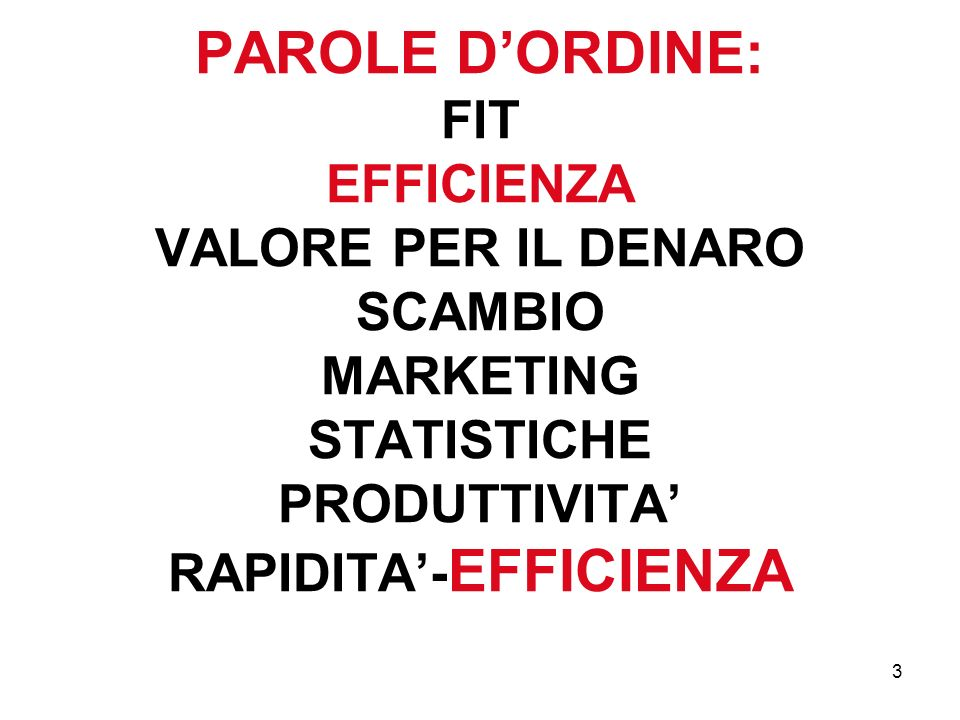 3 PAROLE DORDINE: FIT EFFICIENZA VALORE PER IL DENARO SCAMBIO MARKETING STATISTICHE PRODUTTIVITA RAPIDITA- EFFICIENZA